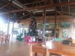 Vip area berdinding kaca ketutup ornamen pohon natal